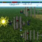 戦術画面。両軍が画面の左右から前進していきます。