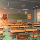夕暮れ時の教室