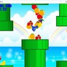 ゲーム中の画面で、土管からフルーツが出ています。