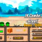ゲーム画面。コンボを上手く繋げるとボーナスが入る。