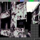 ゲーム画面。廃虚の写真が使われている。