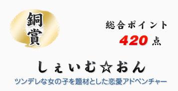 銅賞:しぇいむ☆おん、総合ポイント420点